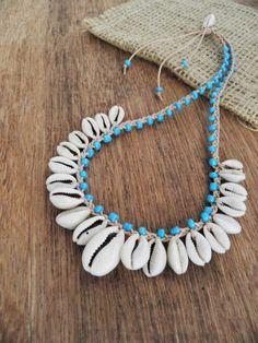 Cowrie shell necklace bohemian necklace by BohemianFairyShop - Jewelry Hemp Jewelry, Seashell Jewelry, Textile Jewelry, Fabric Jewelry, Jewelry Gifts, Beach Jewelry, Jewelry Shop, Jewellery, Bohemian Necklace