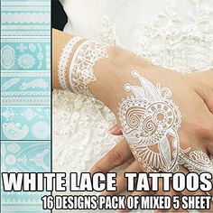 Bluezoo Henna Body Paints Tattoos Stickers Whitelace Tattoo for Girlswomen Necklacebracelets Patterns Pack of Mixed 5 Random Sheets *** Click on the image for additional details. Note:It is Affiliate Link to Amazon.