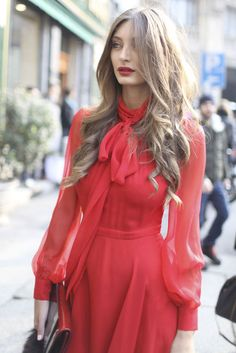 Italian Street Style | Milan Fashion Week | Elegant Red Silk Chiffon Dress | | { Couture /// Runway Every Day 2