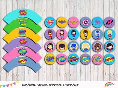 Supergirls 24 Cupcake Toppers and Wrappers  Superhero Girl