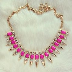 #Statement #Necklace with neon and spikes