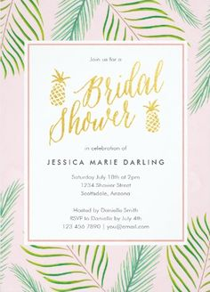 Tropical palm leaf pineapple bridal shower invites palms bridal 7 luscious tropical bridal shower invitations lets luau filmwisefo Image collections