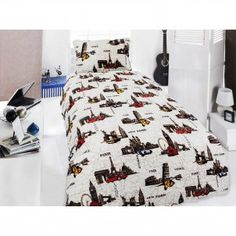 Cities Double Sided Single Micro Bedspread
