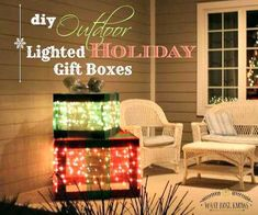 Create a lighted holiday gift box diy light christmas gift boxes using mesh ribbon they make the best holiday porch decor outdoor lighted holiday gift boxes christmas decorations aloadofball Gallery