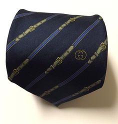 GUCCI NAVY BELT GEOMETRIC 100% SILK MEN'S NECK TIE MADE IN ITALY #Gucci #Tie