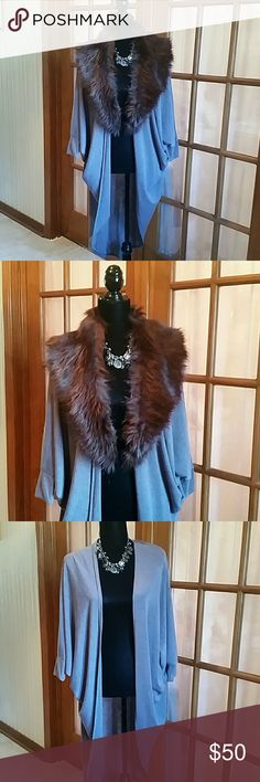 Faux Fur Cardigan NWT Brand: River Island (Purchased from Asos)                                                        Size: US Medium (UK Large). This cardigan is new with tags and comes with a faux fur detachable collar. River Island Other