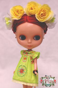 OOAK Lemon Green Mexican Embroidery Dress for Blythe by poppyw