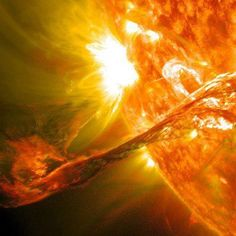 On August 31, 2012 a long filament of solar material that had been hovering in the sun's atmosphere, the corona, erupted out into space at 4:36 p.m. EDT. The coronal mass ejection, or CME, traveled at over 900 miles per second. The CME did not travel directly toward Earth, but did connect with Earth's magnetic environment, or magnetosphere, causing aurora to appear on the night of Monday, September 3 • Credit: NASA/GSFC/SDO