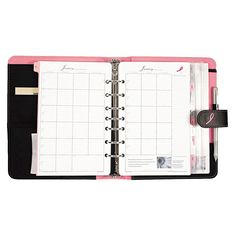 Day-Timer Pink Ribbon Loose-Leaf Organizer Starter Set, 5 x 8 Pink/White, Black/Pink