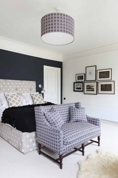 Navy blue accent wall, white doors and trim, but light gray ceiling and other walls? :)