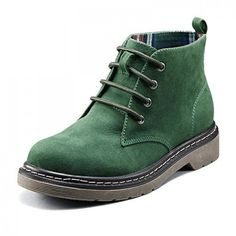 Green Suede 4 Inches Fashion Boots ($75) ❤ liked on Polyvore