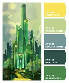 Wizard of oz room Wizard Of Oz Color, Wizard Oz, Emerald City Party, Color Combos, Color Schemes, Front Wall Design, Green Colour Palette, Color Palettes, Land Of Oz