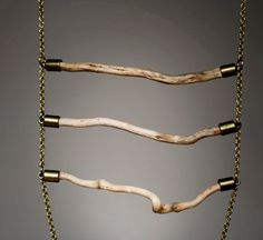 driftwood and brass detail ladder body harness - the raw wood ladder harness