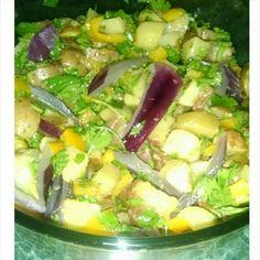 Ensalada de patatitas dulces con pimientos. Sweet potatoes salad