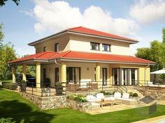 Evolution 143 V13 von Bien-Zenker. Wohnfläche von 143,83 m² verteilt auf 5 Zimmer. Weitere mediterrane Häuser und andere Hausstile auf #Fertighaus.de : https://www.fertighaus.de/stile/mediterran/?utm_source=Pinterest&utm_medium=Pinterest&utm_campaign=Mediterrane%20H%C3%A4user&utm_content=Mediterrane%20H%C3%A4user  #Haustypen #Hausbau #Luxushaus #Familienhaus #Walmdach #Stadtvilla #Garten #Terrakotta