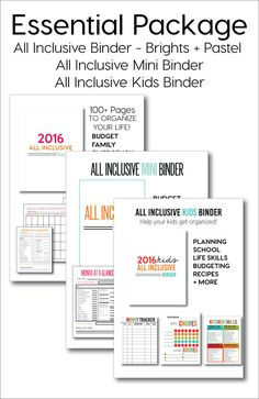 The Essentials Package includes: All Inclusive Binder - Brights + Pastel options, All Inclusive Mini Binder, All Inclusive Kids Binder . For a killer deal! Need help getting a little more organized? Or if you already are organized, why not stay on the right path? I've spent the last few years putting together different binders on my site Thirty Handmade Days. People come back over and over to download my binders. I decided it was time to combine them all together and make it easy to have ...
