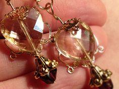 Valentine heart Renaissance filigree genuine garnet and Czech crystal drop earrings
