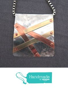 Mixed Metal Pendant Necklace in Steel Copper Brass from FirednWiredJewelry…