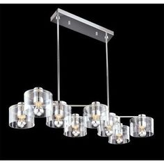 Sonneman 4808 Polished Chrome Transparence 8 Light Pendant with Clear Glass