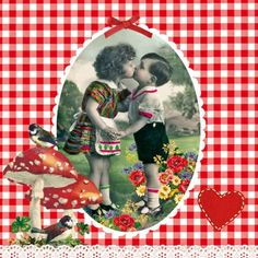 4 Napkins - Kissing Boy And Girl Design Decoupage Napkins - Use For Crafts, Mixed Media, Scrapbooking Retro Kids, Vintage Images, Retro Vintage, Collages, Red And White Mushroom, Card Tags, Cards, Pip Studio, Illustrations