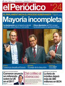 """""""Mayoría incompleta"""", en la portada de EL PERIÓDICO DE CATALUNYA"""