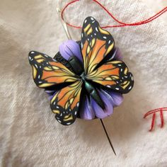 Monarch Butterfly Needle Nanny Sewing Accessory by Claybykim