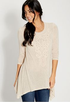 tunic top with crochet and shark bite hem (original price, $29) available at #Maurices
