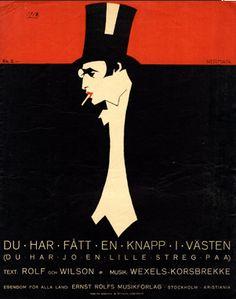 Illustrated Sheet Music Cover by Einar Nerman (1888-1983), 1918, Du har fått en knapp i västen. (Swedish illustrator)