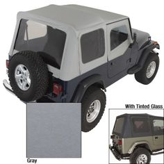 The PreOwned Jeep Store - XHD Soft Top, Charcoal, Tinted Window, 88-95 Jeep Wrangler (YJ), $457.78 (http://www.buyjeeppartsonline.com/jeep-xhd-soft-top-charcoal-tinted-window-88-95-jeep-wrangler-yj/)