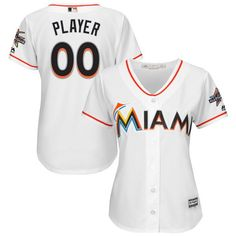 9192d2163 Miami Marlins Majestic Women s 2017 Cool Base Custom Jersey with All-Star  Game Patch -