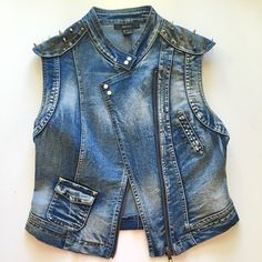F21 studded vest New w/o tags Forever 21 studded denim vest. Size small true to size. Never worn Forever 21 Jackets & Coats Vests