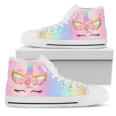 Funny Unicorn High Top Shoes - Gift For Crush Unicorn Fashion, Unicorn Outfit, Unicorn Clothes, Unicorn Bedroom Decor, Basket Style, Kids Outfits, Cute Outfits, Rainbow Shoes, Top Shoes