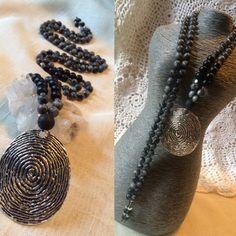 108 Mala Meditation Beads / Labradorite & Onyx Mala with a Stunning Fingerprint Pendant. Mala Meditation, Labradorite, Beads, Pendant, Etsy, Jewelry, Beading, Jewlery, Jewerly