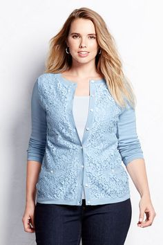73b5cceccb Women s Supima Lace Pocket Cardigan Sweater from Lands  End Plus Size  Beauty