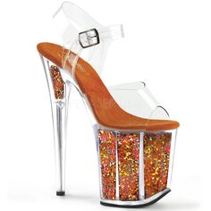 4a43cbc966 Flamingo 808GF Orange Hologram Glitter Platform Sandal Shoe 8