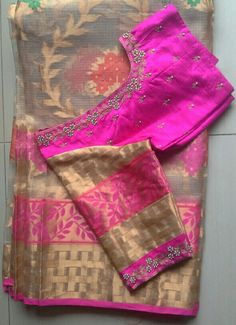 Tissue kota saree with rawsilk blouse with pearls work 7702919644