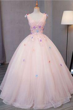 Pink tulle floor length V neck long sweet 16 prom dress, long 3D flower lace