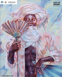 Posted by everydayorig : Today on #everydayoriginal we have a new acrylic painting from our very own staff member @odyism. Check it out at http://ift.tt/1BcdOeO  My newest @everydayorig is up today! This is inspired by #Obatala the Nigerian (Yoruba) deity of peace creation wisdom and the universe's collective conscious.  Check it out and perhaps buy an Odera original while you can at http://ift.tt/1WMxEoj <3  #Orisha #nigerian #mythology #god #gods #afrocuban #yoruba #santeria #art #painting…