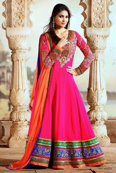 Lara Dutta models dramatic Georgette floor length Suit in Hot Pink, Orange...  Rs 5,999