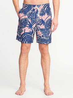 804f7c4416 Old Navy Men's Printed Swim Trunks - 8-Inch Inseam Pink Palm Size XXXL  Bungee