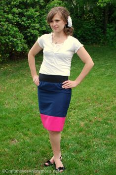 How to sew a Color Block skirt tutorial http://www.craftaholicsanonymous.net/how-to-sew-a-color-block-skirt-tutorial #craft #sewing #fashion