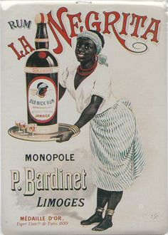 Pub retro alcool RHUM NEGRITA DE LIMOGES