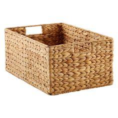 Medium Water Hyacinth Bin Natural - The Container Store Fabric Storage, Storage Baskets, Storage Spaces, Storage Ideas, Door Storage, Pantry Baskets, Storage Cart, Bed Storage, Gift Baskets