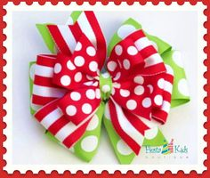 Christmas hair bow with headband - Holiday stacked hairbow -by FiestaKidsBoutique