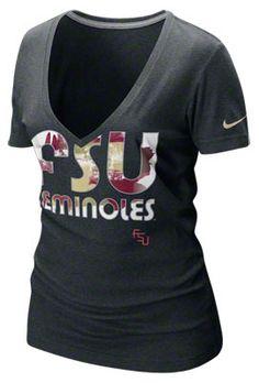 Florida State Seminoles Women's Nike Black Heather Tri-Blend Deep V-Neck T-Shirt