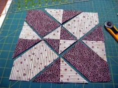Disappearing 4 Patch tutorial - start with 4 squares, sew together, cut and rearrange and sew together
