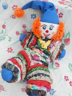 Vintage YoYo Doll YoYo Clown Doll Nursery Primitive Shabby Chic Country Toy Rainbow. $20.00, via Etsy.
