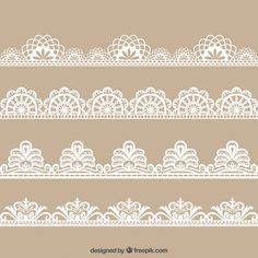 Colecction of hand drawn floral lace decoration Premium Vector Lace Drawing, Pattern Drawing, Vector Pattern, Pattern Design, Tunisian Crochet Patterns, Crochet Granny, Crochet Lace, Knitting Patterns, Border Embroidery Designs