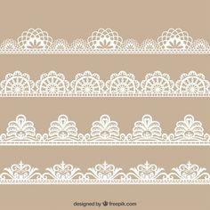 Colecction da mão desenhada decoração floral lace Vetor Premium
