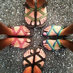 Chacos are great for summer. They're water proof and easy to clean. I have neon orange ones. Very comfortable